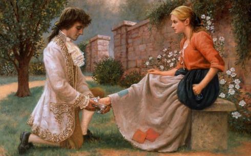Aqui a Cinderela num momento mais limpinho, quando o príncipe descobre que ela é quem ele realmente está procurando